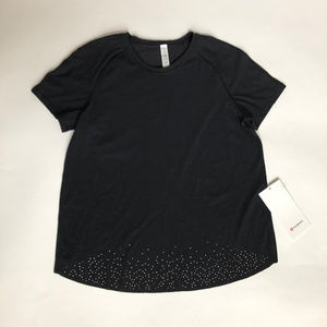 Lululemon 6 Black Quick Pace SS Short Sleeve Top